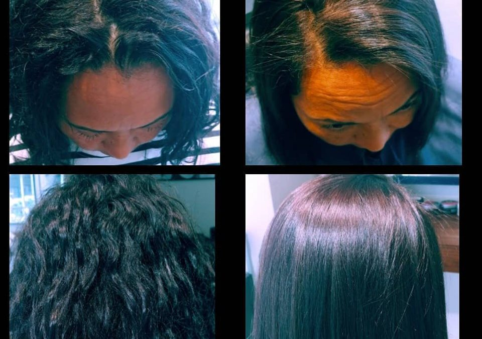 Before & After Using the New technology Brazilian Blowout 4D with Ojon Oil!!